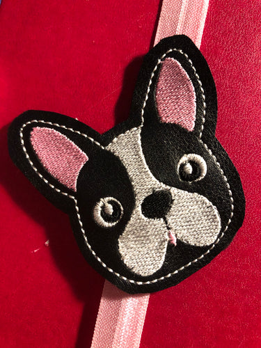 Boston Terrier Face Feltie embroidery design