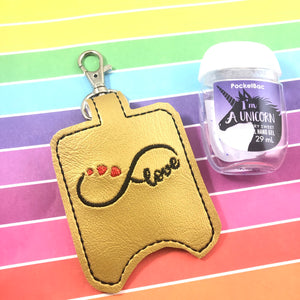 Infinity Love Hand Sanitizer Holder Snap Tab Version In the Hoop Embroidery Project 1 oz BBW for 5x7 hoops