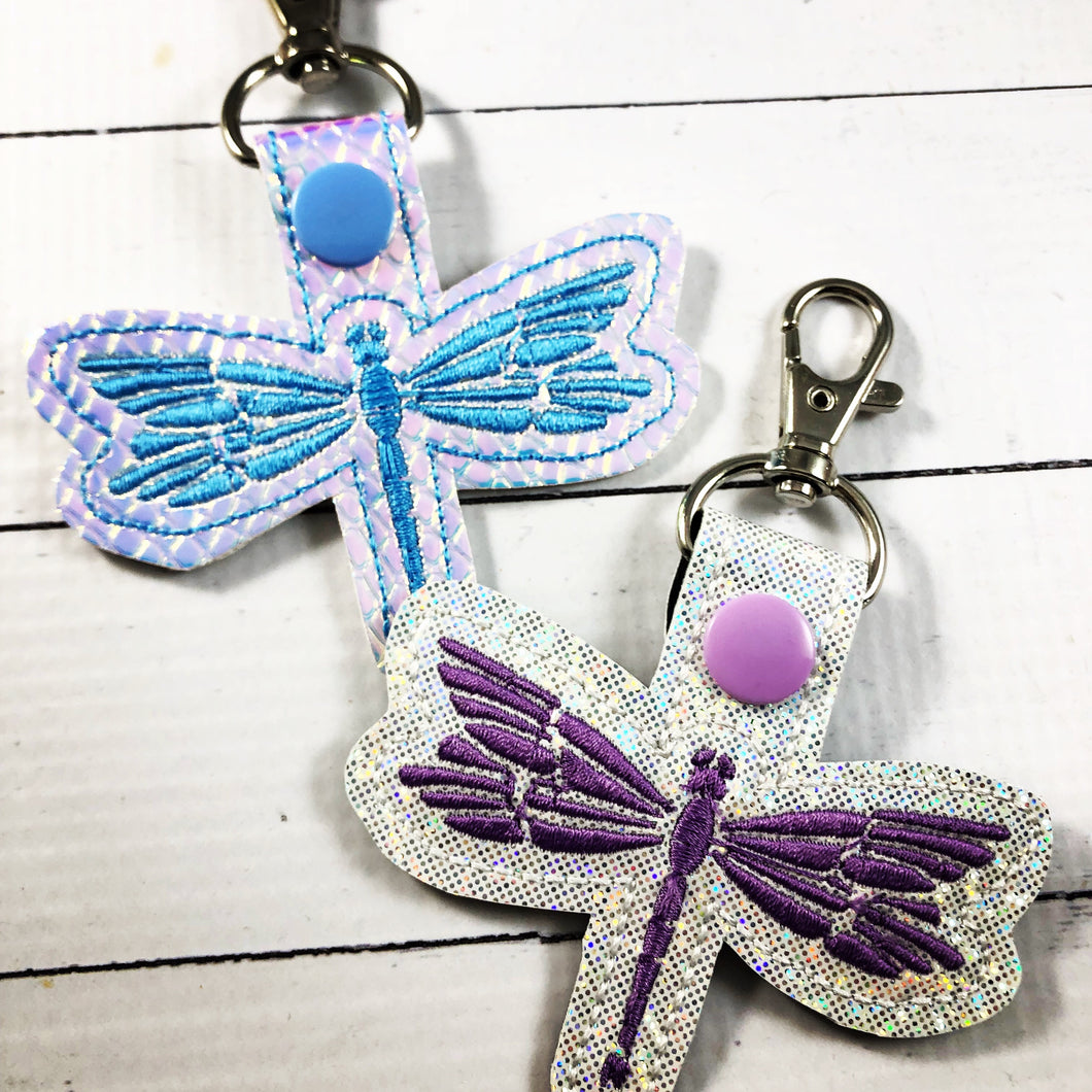 Dragonfly tag snap tab for 4x4 hoops