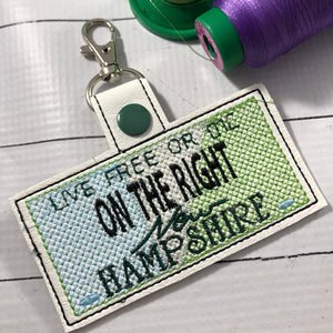New Hampshire Plate Embroidery Snap Tab