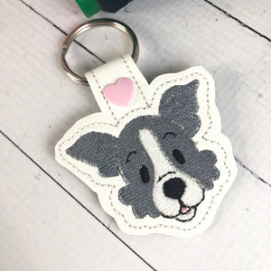 Border Collie Face snap tab In the Hoop embroidery design