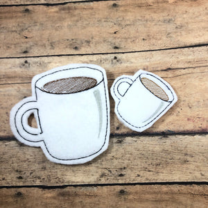 Coffee Cup Felties embroidery design