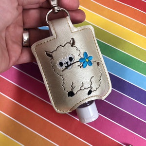 Alpaca Hand Sanitizer Holder for 2 oz Bottles Snap Tab In the Hoop Embroidery Project