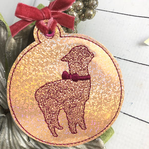 Alpaca With Bow Christmas Ornament for 4x4 hoops