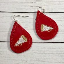 Megaphone Teardrop Earrings embroidery design