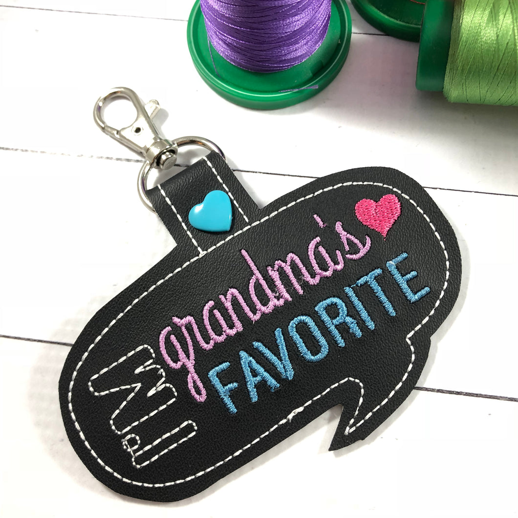 Grandma's Favorite snap tab embroidery design
