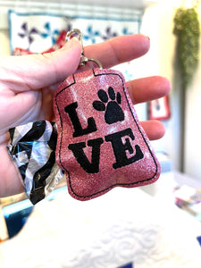 Love Paw Print Doggie Bag Roll Holder Snap Tab Version In the Hoop Embroidery Project  for 5x7 hoops