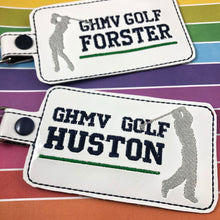 Guy and Girl GOLF Name Tag  BLANK Snap Tab and Eyelet Tag Design