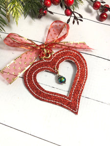 Open Heart Christmas Ornament for 4x4 hoops