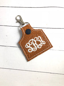 BLANK Cow tag shape snap tab for 4x4 hoops