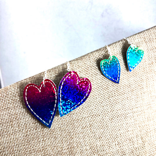 Heart Earrings and Pendant Layers for Leather or Vinyl embroidery design
