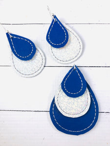 Teardrop Earrings and Pendant embroidery design for Vinyl and Leather