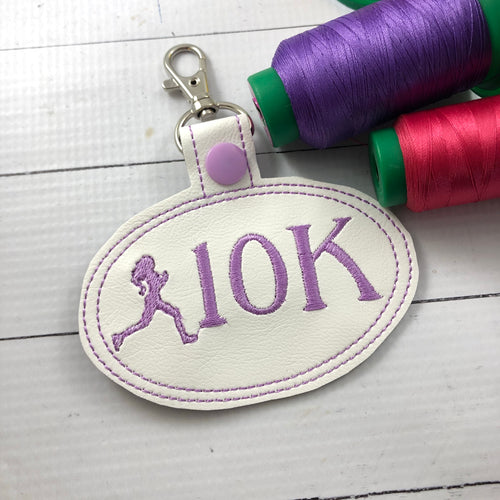 10K Running Girl snap tab - Backpack/Keyfob tag embroidery design