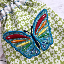 Rainbow Butterfly Drawstring Bag Embroidery Design In the Hoop- 4x4 and 5x7 and 6x10