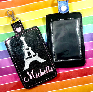 Eiffel Tower Double Sided Luggage Tag Design for 5x7 Hoops