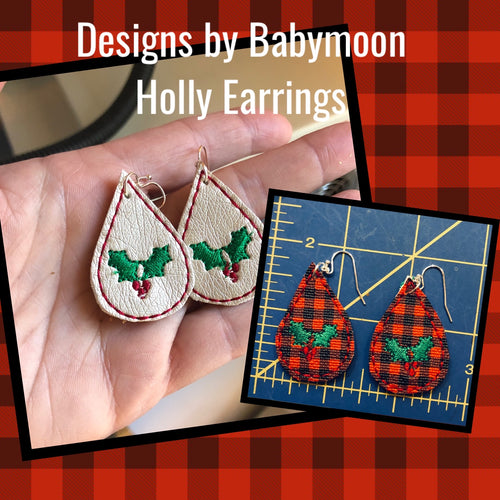 Holly Teardrop Earrings embroidery design for Vinyl and Leather