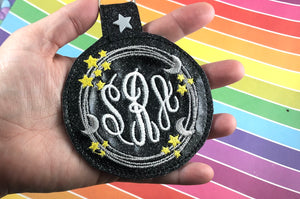 Moon and Stars Monogram Frame BIG Circle snap tab Tag for 5x7 hoops