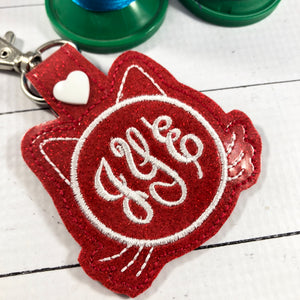 Monogram BLANK cat face tag snap tab for 4x4 hoops
