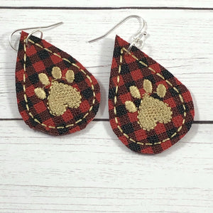 Paw Print Teardrop Earrings embroidery design