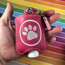 Paw Print Hand Sanitizer Holder Eyelet Version In the Hoop Embroidery Project 2 oz Purell or Assurance for 4x4 hoops