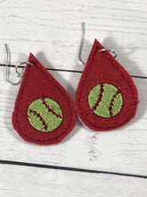 Baseball or Softball Teardrop Earrings embroidery design