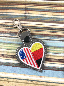 Germany America LOVE snap tab In The Hoop embroidery design