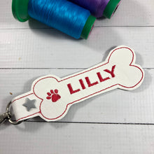 BLANK Dog Bone snap tab for NAMES for 5x7 hoops