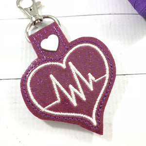 Doctor Nurse EKG snap tab embroidery design