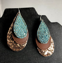 Extra Large Three Layer Teardrop Earrings and Pendant embroidery design for Vinyl and Leather