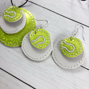 Tennis Stitching  ROUND Layers Earrings and Pendant embroidery design for Vinyl and Leather