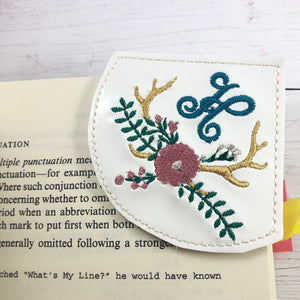 Antler Monogram Frame Corner Bookmark Design