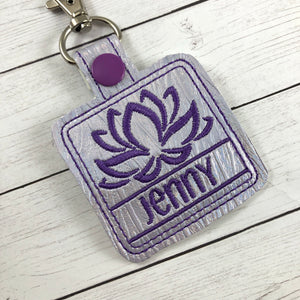 Lotus Blossom snap tab Personalized Bag Tag for 4x4 hoops
