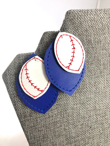 Baseball Softball Stitching Layers Earrings and Pendant embroidery design for Vinyl and Leather