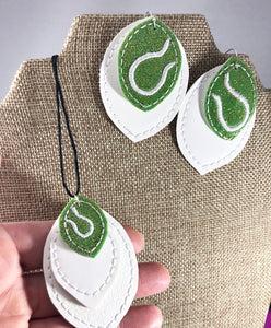 Tennis Stitching Layers Earrings and Pendant embroidery design for Vinyl and Leather