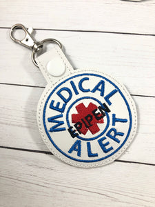 Medical Alert EPIPEN snap tab embroidery design