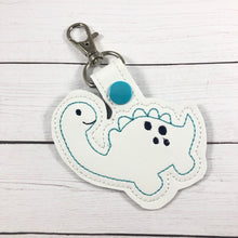 Dinosaur snap tab - cute dino bag tag design