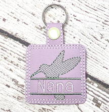 Hummingbird snap tab Personalized Bag Tag for 4x4 hoops