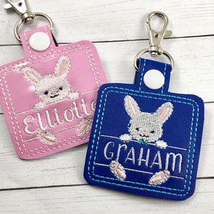 Baby BUNNY Boy and Girl Set snap tab Diaper Bag EASTER Tag for 4x4 hoops