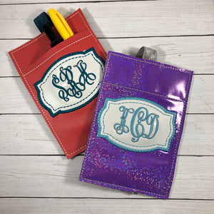 Blank Monogram Deco Frame Pen Pocket In The Hoop (ITH) Embroidery Design