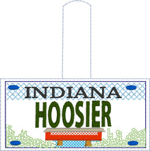 Indiana Plate Embroidery Snap Tab