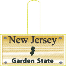 New Jersey Plate Embroidery Snap Tab
