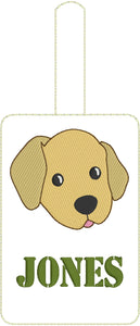 Labrador Puppy Face Double Sided Luggage Tag Design for 5x7 Hoops