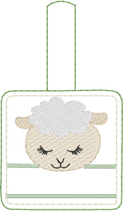 Lamb snap tab Personalized Tag for 4x4 hoops