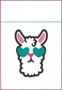 Cute Llama Design Pen Pocket In The Hoop (ITH) Embroidery Design