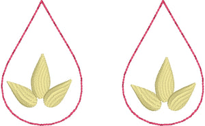 Lotus Blossom Teardrop Earrings embroidery design