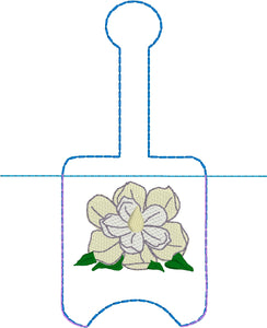 Magnolia Hand Sanitizer Holder Snap Tab Version In the Hoop Embroidery Project 1 oz BBW for 5x7 hoops