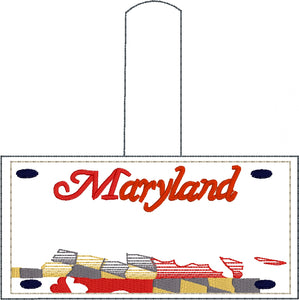 Maryland Plate Embroidery Snap Tab