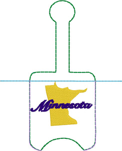 Minnesota Hand Sanitizer Holder Snap Tab Version In the Hoop Embroidery Project 1 oz BBW for 5x7 hoops