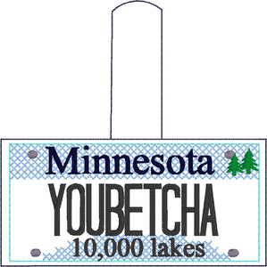 Minnesota Plate Embroidery Snap Tab