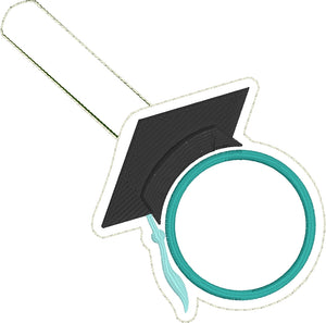 Monogram blank Graduation Cap snap tab for 4x4 hoops